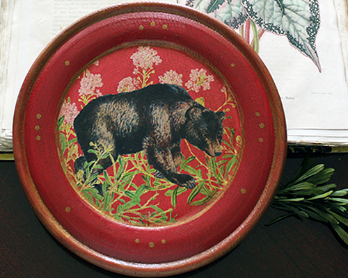Bear Plate with Pink Flowers