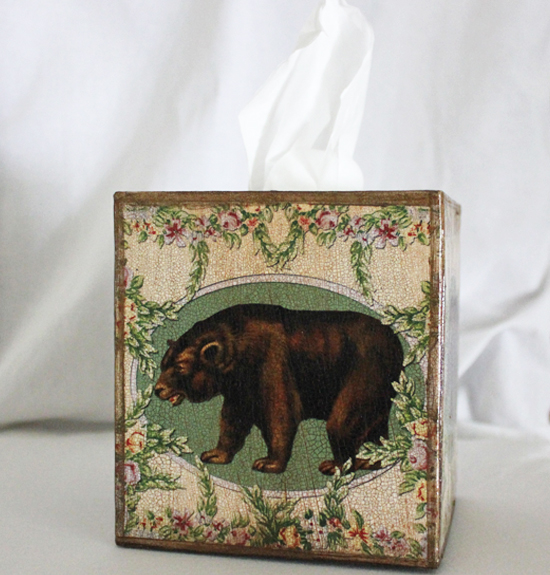Brown Bear Tissue Box Cover Wreath of Flowers
