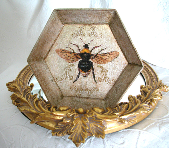 French Bee in Scrolls Decoupage Hexagon Paper Mache Plate
