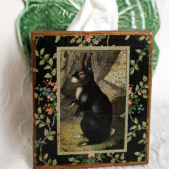 Black Rabbit Tissue Box Cover