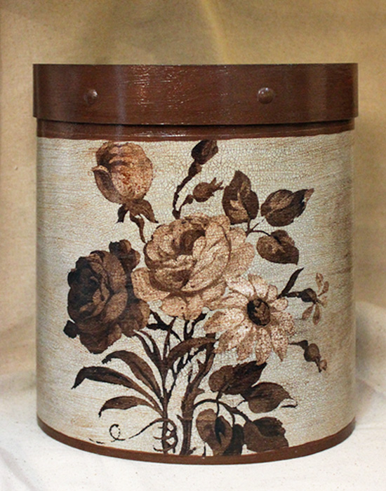 Brown Roses on French Blue Wastepaper Basket