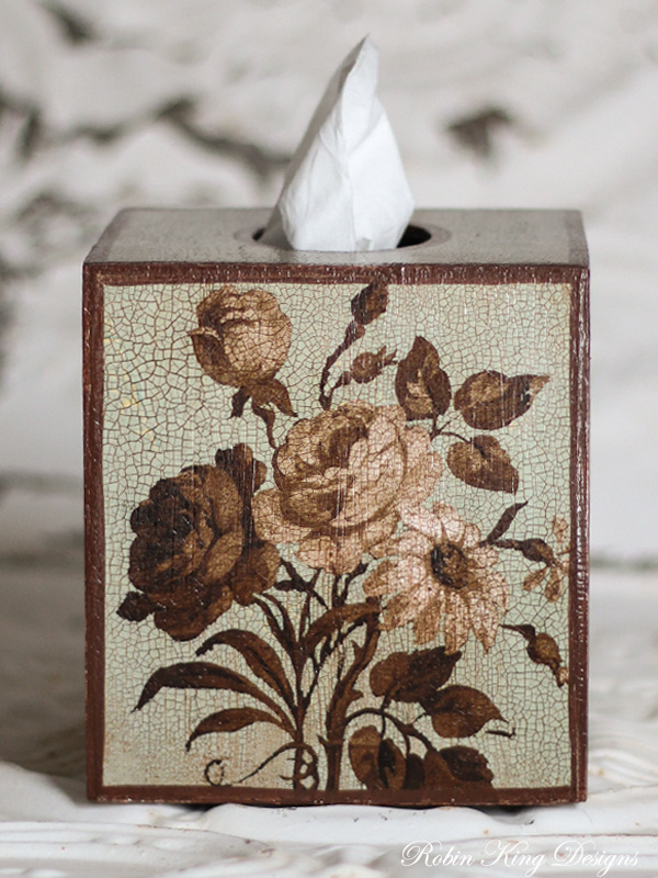 Brown Roses on French Blue Tissue Box Cover