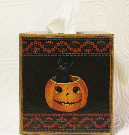 Cat and Pumpkin Tissue Box Cover