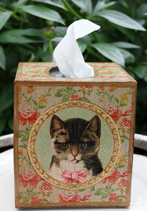 Cat Tissue Box Cover Floral
