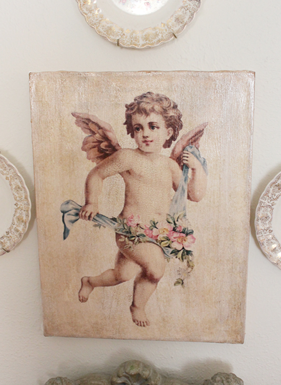 Cherub with Floral Wreath Canvas