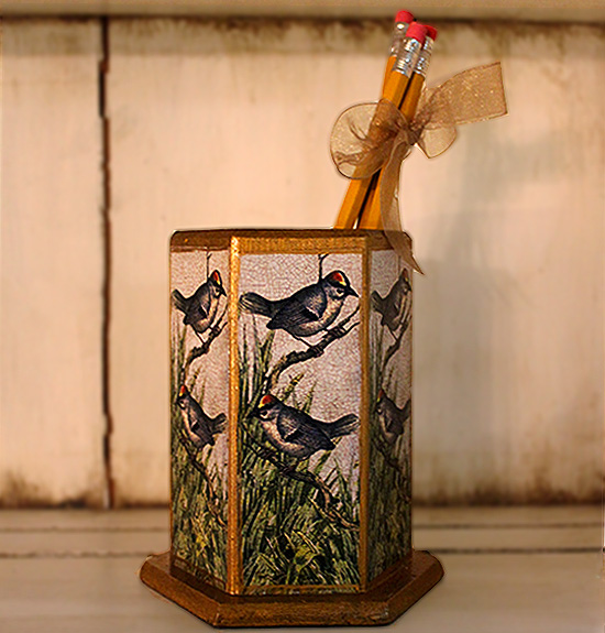 Chickadee Pencil Holder
