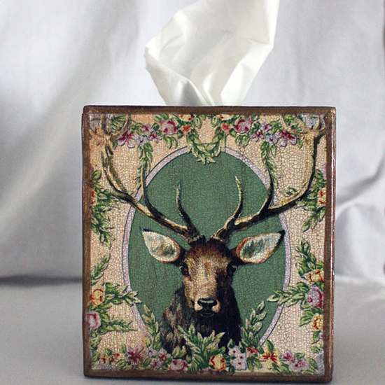 Deer Face Tissue Box Cover Wreath of Flowers