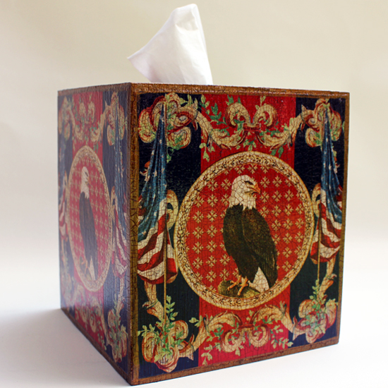 Eagle Flags Tissue Box Cover