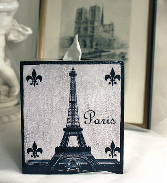 Eiffel Tower Black and White Tissue Box Cover