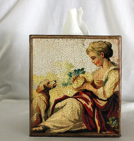 Lady with Dog Tissue Box Cover