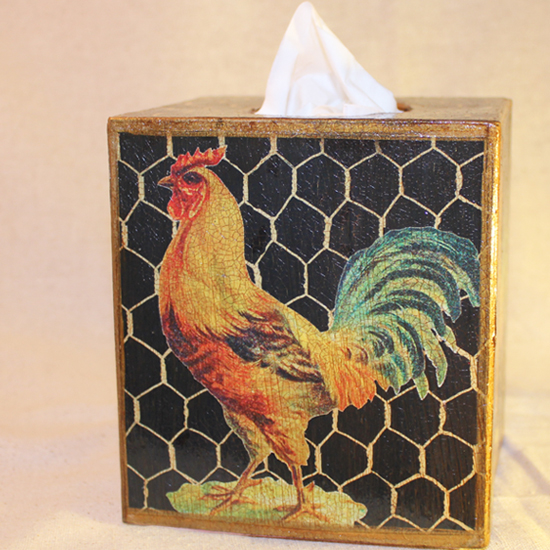 Golden Rooster Tissue Box Cover