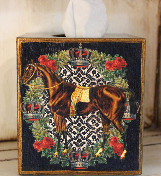 Horse with Crowns and Roses Tissue Box Cover