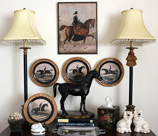 Horsewoman Plaque and Set of Four Plates