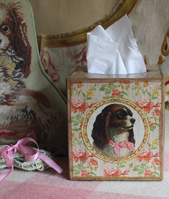 King Charles Spaniel Floral Tissue Box Cover
