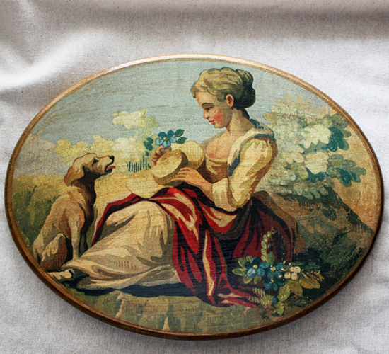 Lady with Dog Plaque