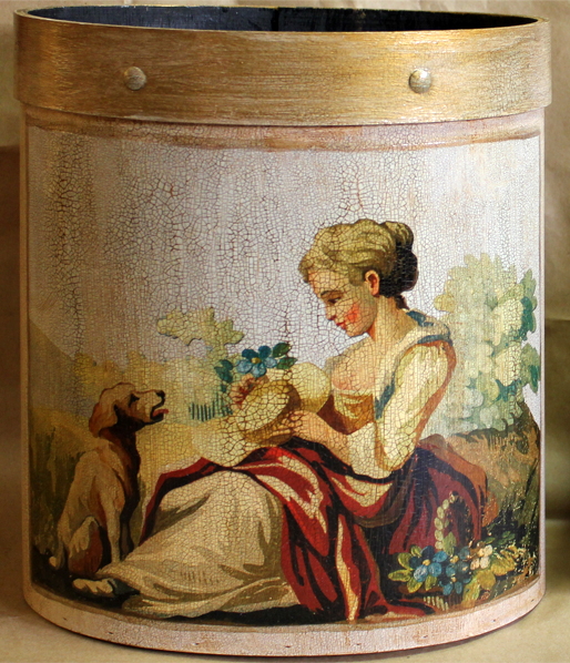 Lady with Dog Wastepaper Basket