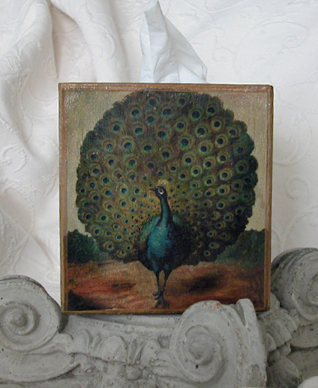 Peacock Tissue Box Cover