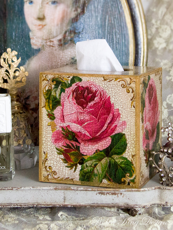 Pink Rose Tissue Box Cover Ivory