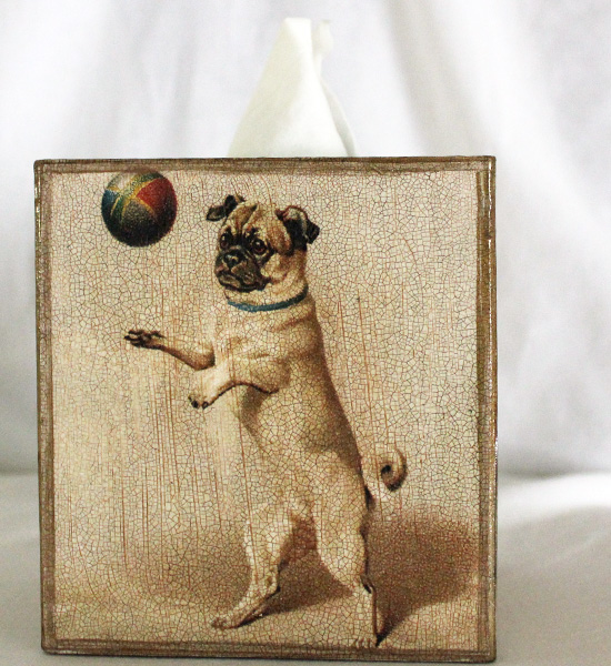 Pug with Ball Tissue Box Cover