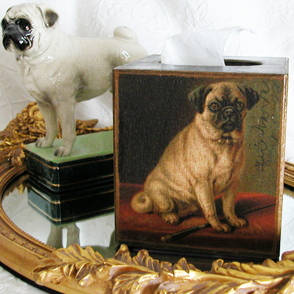 Pug Tissue Box Cover Black