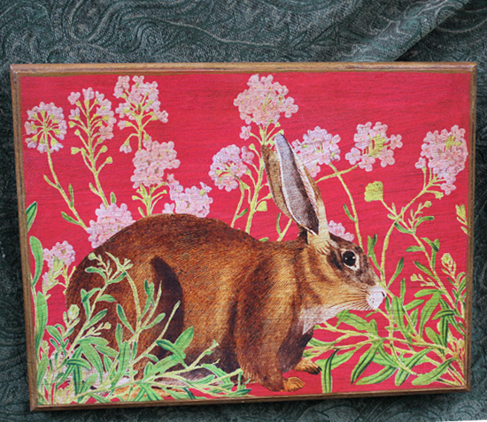 Rabbit Plaque Pink Flowers