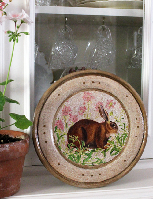 Rabbit Plate with Pink Flowers