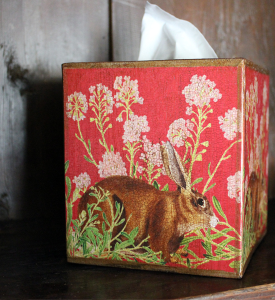 Rabbit with Pink Flowers on Red Tissue Box Cover