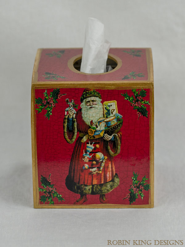 Santa with Toys Red Tissue Box Cover