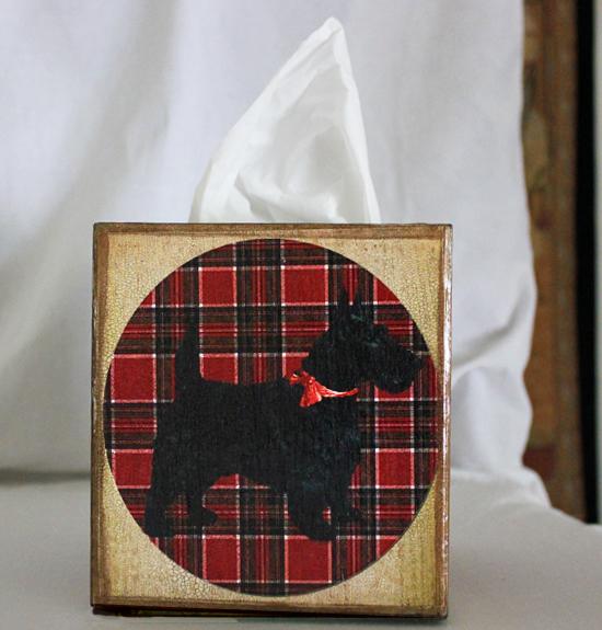 Scottie Dog Plaid Tissue Box Cover