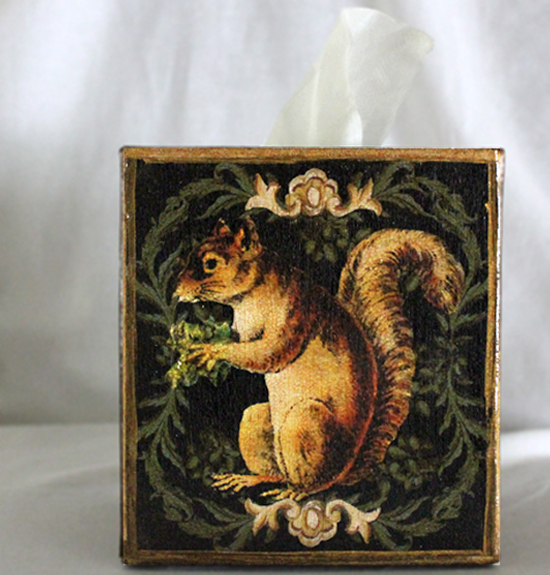 Squirrel in Wreath on Black Tissue Box Cover