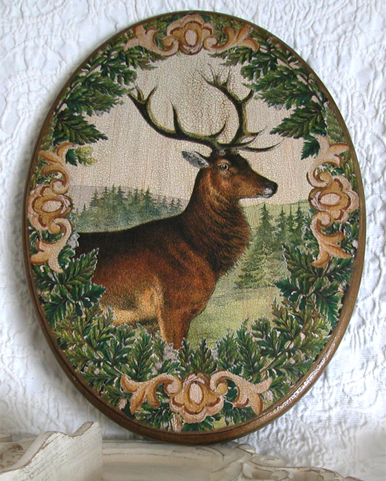 Stag in Wreath of Ferns Plaque