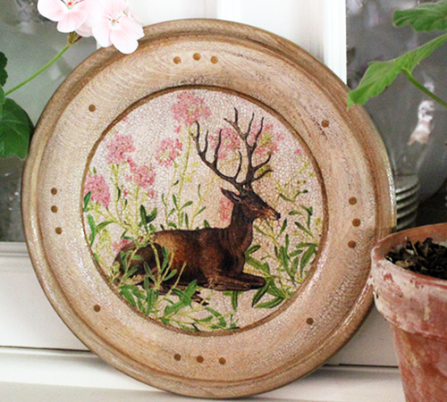 Stag Plate with Pink Flowers