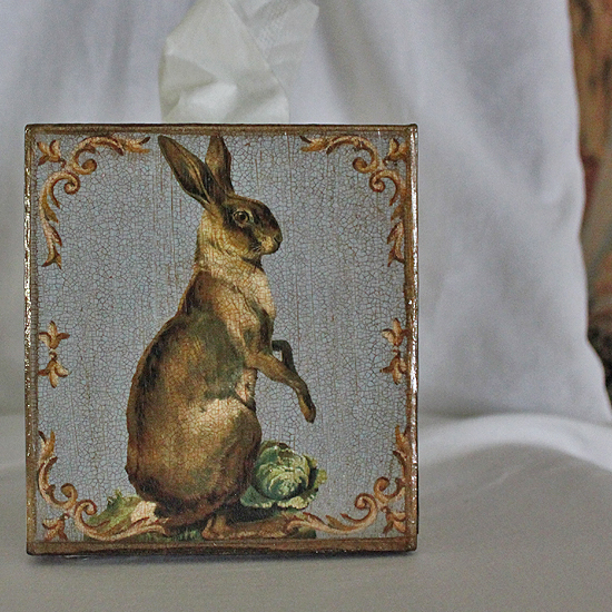 Standing Hare on French Blue Tissue Box Cover