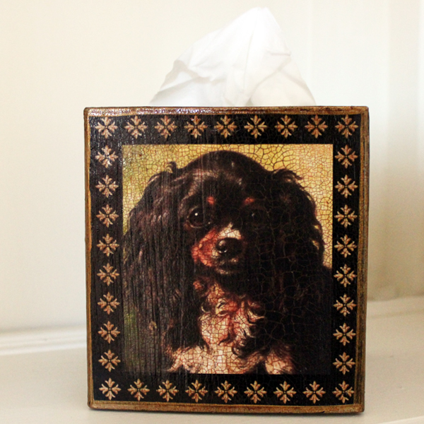 Tricolor King Charles Cavalier Spaniel Tissue Box Cover