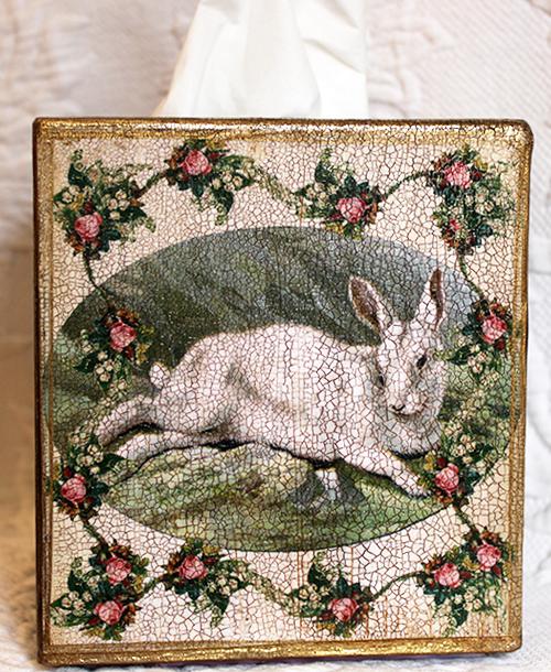 White Rabbit Tissue Box Cover