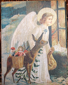 Angel and Deer Christmas Canvas
