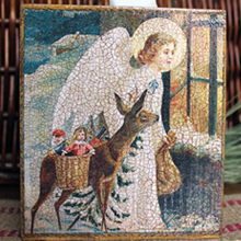 Angel and Deer Christmas Tissue Box Cover