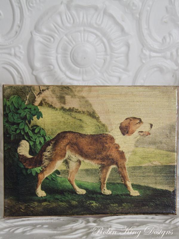 Antique Dog Art Newfoundland 8 by 10-inch Decoupage Canvas Art
