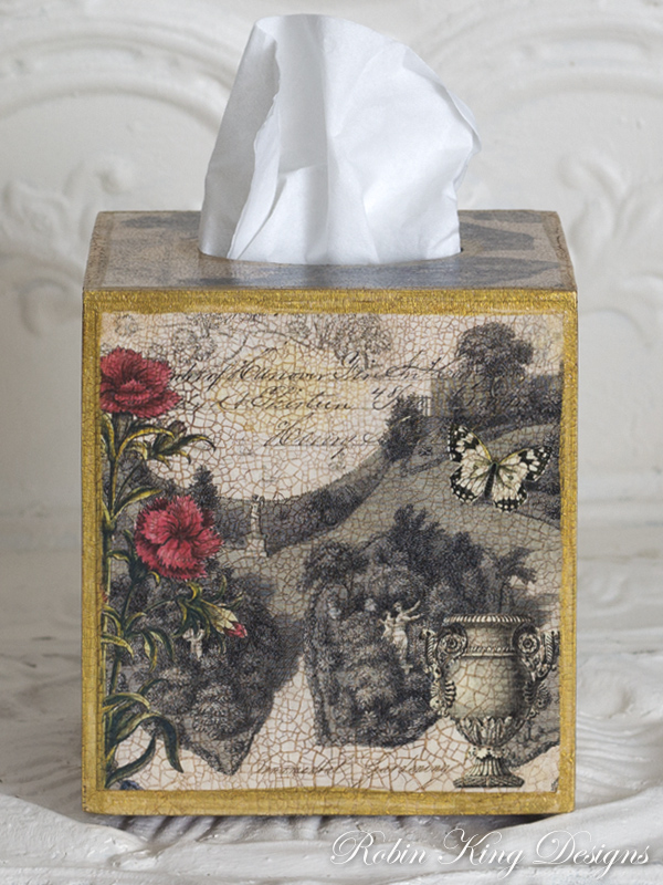 Antique Garden Design Tissue Box Cover
