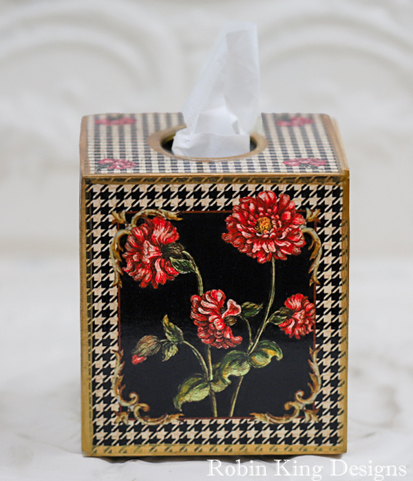 Antique  Pink Flowers on Black and White Houndstooth Pattern Tissue Box Cover
