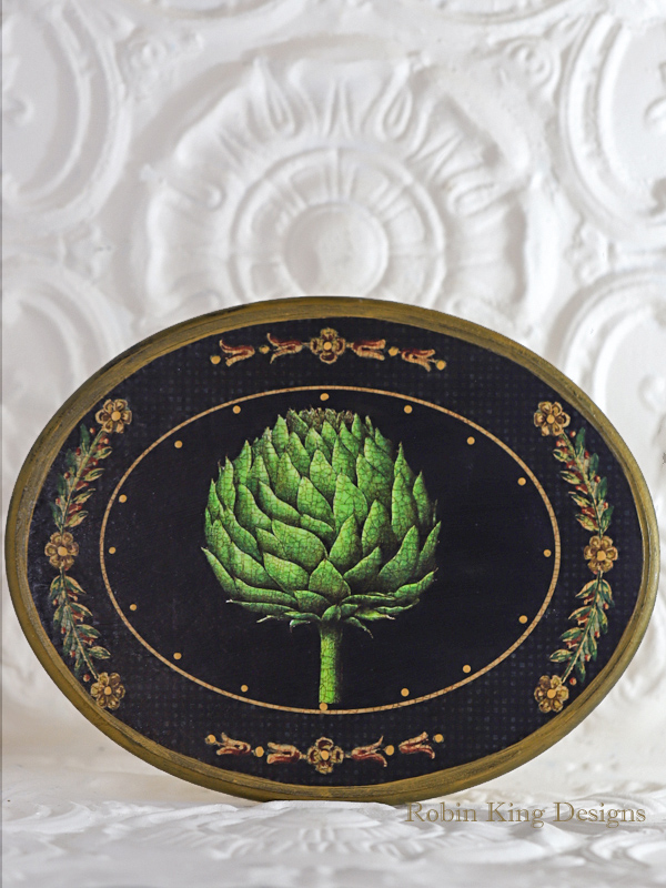 Artichoke Wood Oval Plaque 11 by 14 Inches