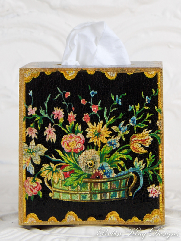 Basket of Flowers with Trim on Black