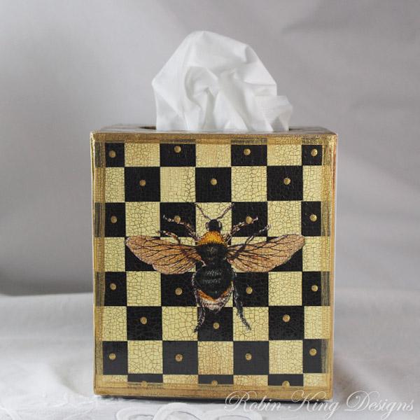 Bee with Cream and Black Checks Tissue Box Cover