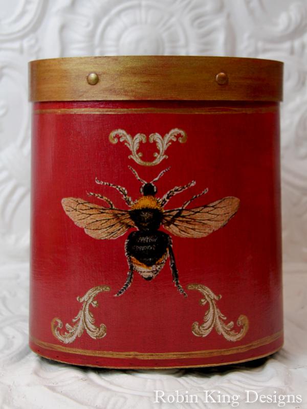Bee Wastepaper Basket on Red