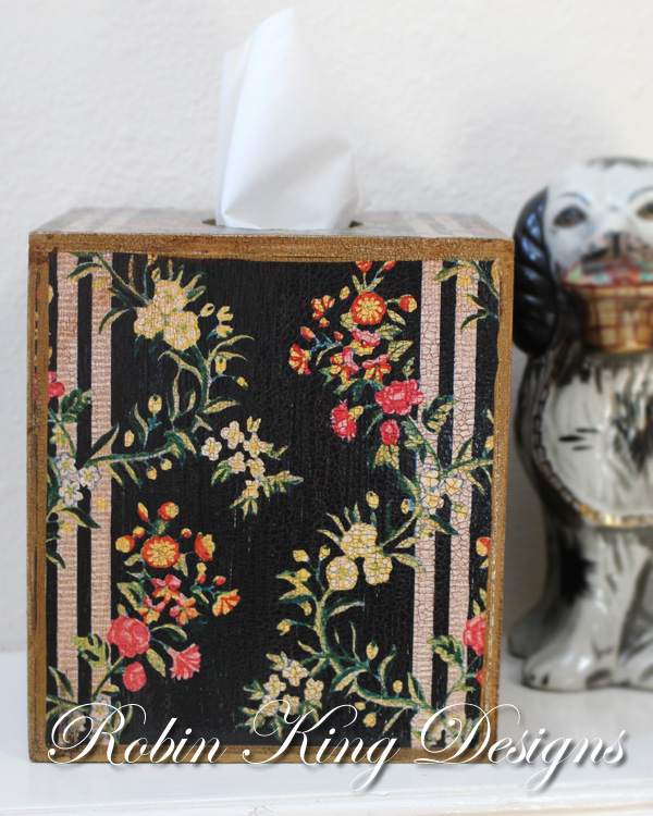 Black Dauphine Floral Tissue Box