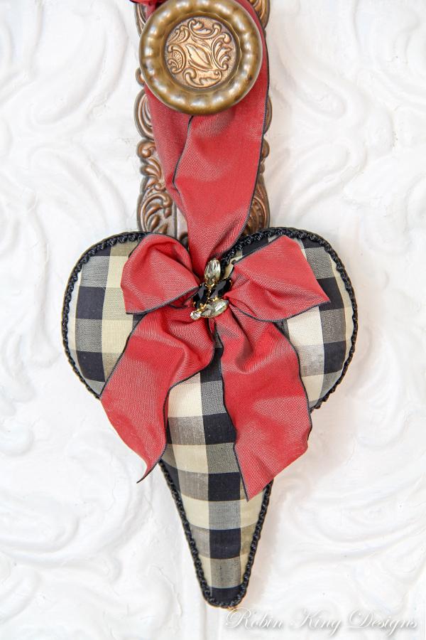 Black Check Silk Lavender Heart Sachet