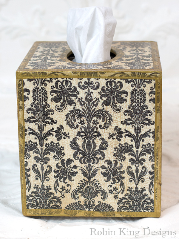 Damask Black Tissue Box Cover