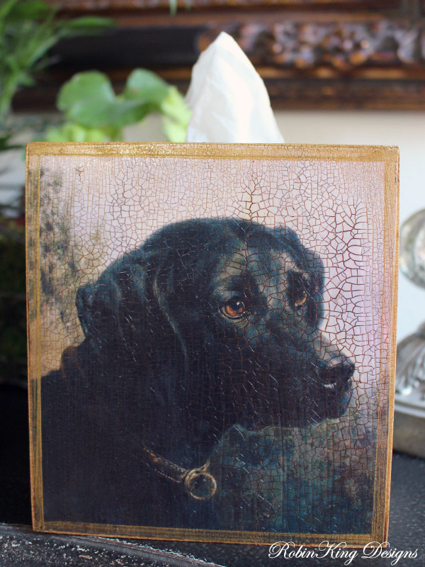 Black Lab in Field Tissue Box Cover