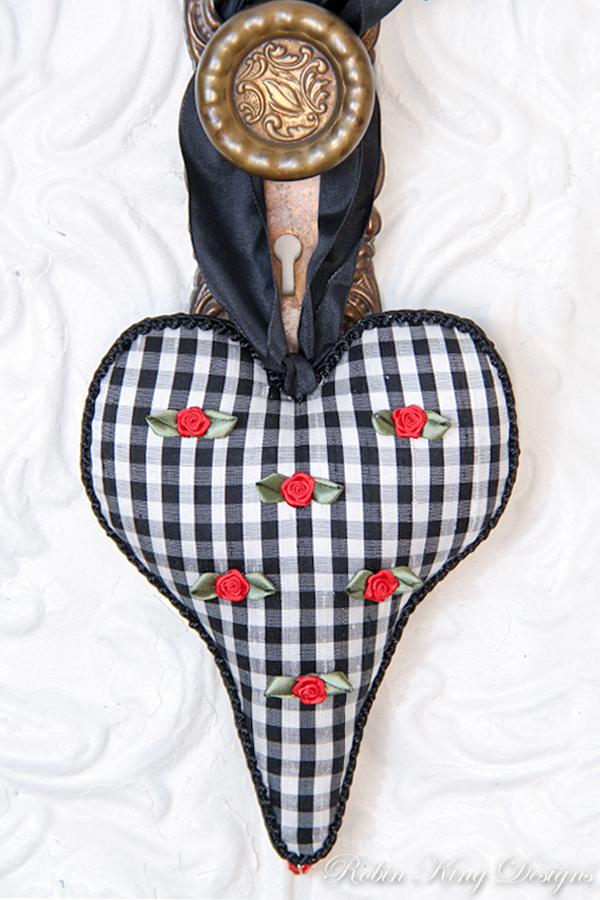 Black White Check Silk with Roses Lavender Heart Sachet