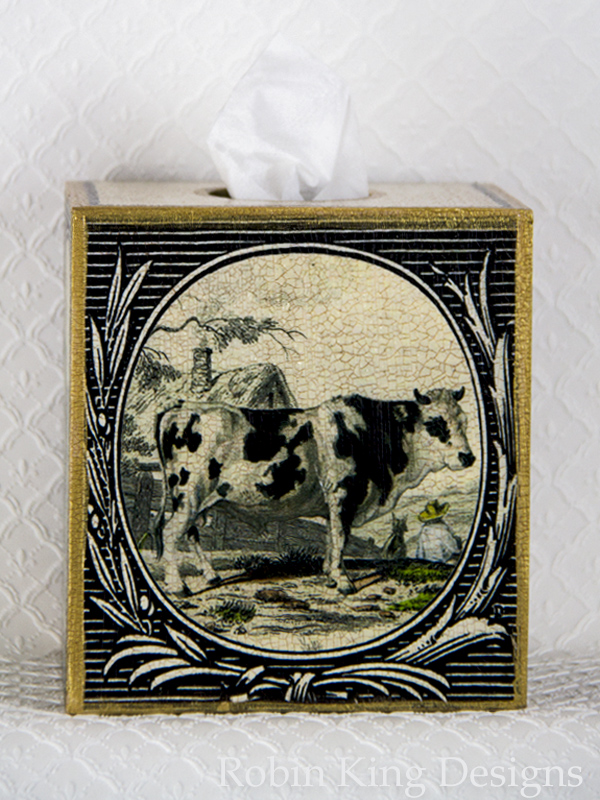 Black and White Cow Design Tissue Box Cover